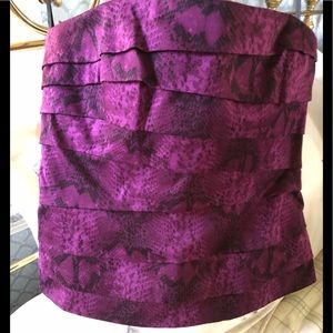 WHBM purple and black bustier with back zipper.
